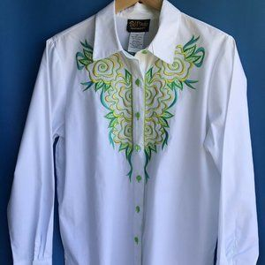 Bob Mackie Wearable Art Btn Up Embrodered Shirt M